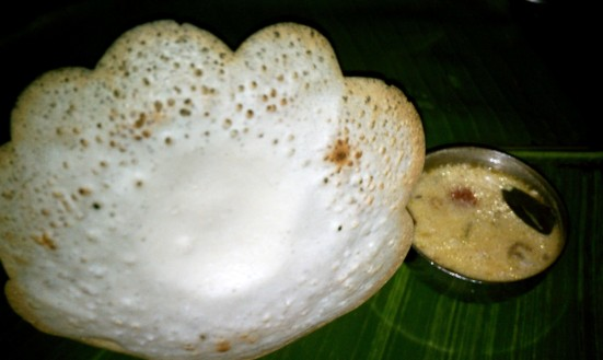 Appam and coconut stew